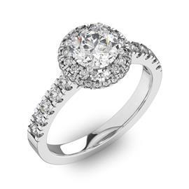 Помолвочное кольцо с 1 бриллиантом 0,67 ct 4/5  и 50 бриллиантами 0,4 ct 4/5 из белого золота 585°, артикул R-D41972-2