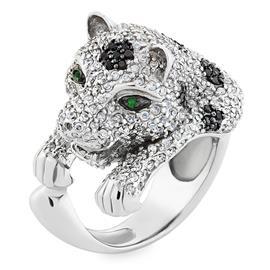 Кольцо Пантера серебро 925° фианиты, артикул R-3533