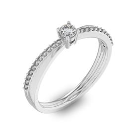 Помолвочное кольцо с 1 бриллиантом 0,1 ct 4/5  и 22 бриллиантами 0,06 ct 4/5 из белого золота 585°, артикул R-D34045-2