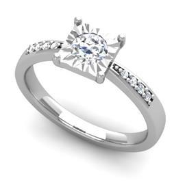 Кольцо с 1 бриллиантом 0,25 ct 4/5 и 8 бриллиантами 0,02 ct 4/5 из белого золота 585°, артикул R-D48246-2