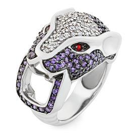 Кольцо Пантера серебро 925° фианиты, артикул R-3525-3