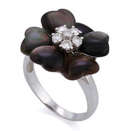 Кольцо с перламутром и 6 бриллиантами 0,38 ct 4/5 из белого золота, артикул R-DRN09257-01