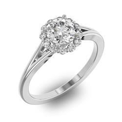 Помолвочное кольцо с 1 бриллиантом 0,7 ct 4/5  и 14 бриллиантами 0,17 ct 4/5 из белого золота 585°, артикул R-D32652-2