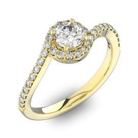 Кольцо с 1 бриллиантом 0,45 ct 4/5  и 32 бриллиантами 0,22 ct 4/5 из желтого золота 585°, артикул R-D42577-1