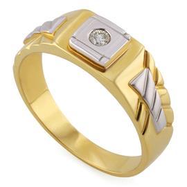 Кольцо из желтого и белого золота 585 пробы с 1 бриллиантом 0,08 карат, артикул R-АО2013