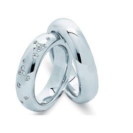 """Обручальные кольца парные с бриллиантами из белого золота серии """"Twin Set"""", артикул R-ТС 010"""