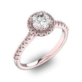 Помолвочное кольцо с 1 бриллиантом 0,7 ct 4/5  и 30 бриллиантами 0,18 ct 4/5 из желтого золота 585°, артикул R-D42200-1