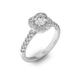 Помолвочное кольцо с 1 бриллиантом 0,45 ct 4/5  и 24 бриллиантами 0,29 ct 4/5 из белого золота 585°, артикул R-D36044-2