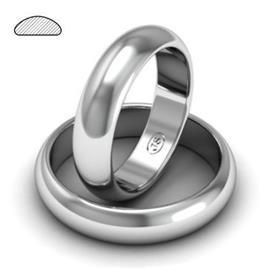 Обручальное кольцо классическое из белого золота, ширина 5 мм, артикул R-W255W