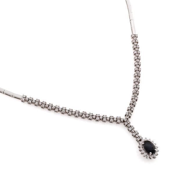 Колье с 118 бриллиантами 1,13 ct 4/5 и 1 сапфиром 1,09 ct 3/3 из белого золота