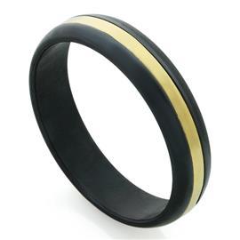 Обручальное кольцо из титана со вставкой из золота, артикул R-Т8020