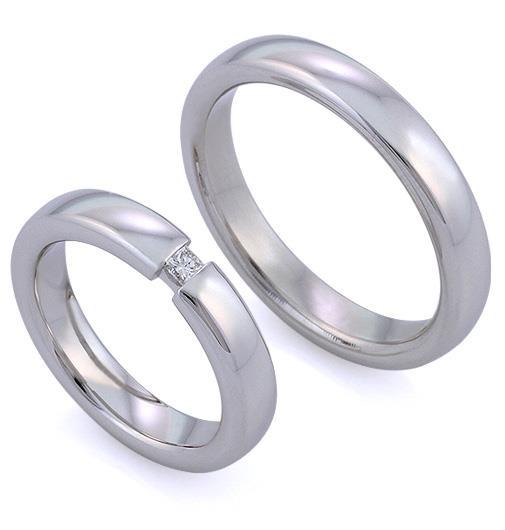 Обручальные кольца с комфортной посадкой из белого золота 585, с бриллиантом огранки «принцесса»
