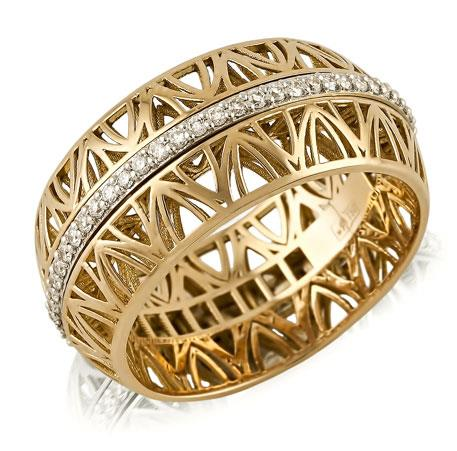 Кольцо с 58 бриллиантами круглой огранки 0,40 ct с характеристикой 4/4 из белого и розового золота 750°, артикул R-ИМ 104