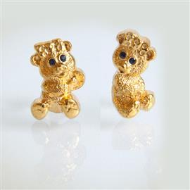 Запонки Мишки - девочки из серебра 925 пробы с покрытием золотом, артикул R-29.02
