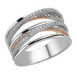 Кольцо  из белого и розового золота 750 пробы с  105 бриллиантами 0,51 карат, артикул R-DRN13050-01