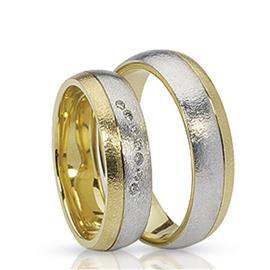 Обручальные кольца парные с бриллиантами из золота 585 пробы, артикул R-ТС 1622 007