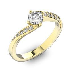 Помолвочное кольцо с 1 бриллиантом 0,45 ct 4/5  и 14 бриллиантами 0,1 ct 4/5 из желтого золота 585°, артикул R-D42127-1