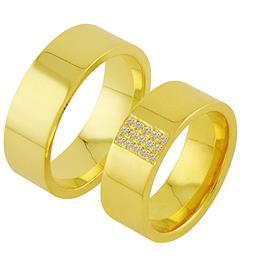 Обручальные кольца с бриллиантами из золота, артикул R-ТС 3190