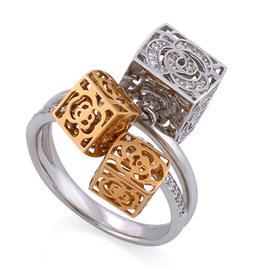 """Кольцо """"Игра цвета"""" из белого и розового золота 750 пробы с 61 бриллиантом 0,34 карат , артикул R-СА316"""