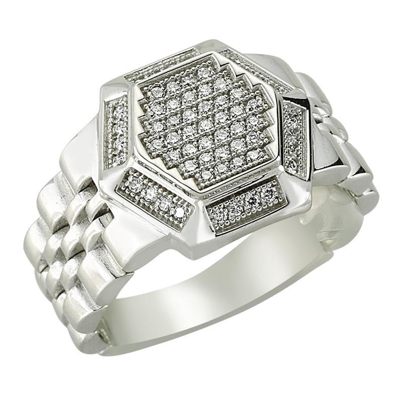 Кольцо с 61 бриллиантами 0,30 ct 3/4 из белого золота, артикул R-80926
