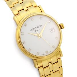 Золотые часы мужские с 11 бриллиантами 0,05 ct 2/2 из желтого золота 750°, артикул R-235.124MY