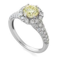 Помолвочное кольцо с 1 желтым бриллиантом 1,04 ct фэнтази/3 F6C3113  1,04 fancy/VVS2, центр (48 бриллиантов 0,85 ct3/4) белое золото  750° сертификат IGI