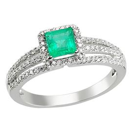 Кольцо с 1 изумрудом 0,52 ct 3/3 и 85 бриллиантами 0,37 ct 3/4 из белого золота 750°, артикул R-ERN01827-01