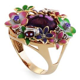 Кольцо с цирконом и эмалью из розового золота, артикул R-GT-1098-1