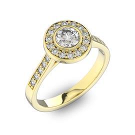 Помолвочное кольцо с 1 бриллиантом 0,45 ct 4/5  и 24 бриллиантами 0,3 ct 4/5 из желтого золота 585°, артикул R-D40577-1