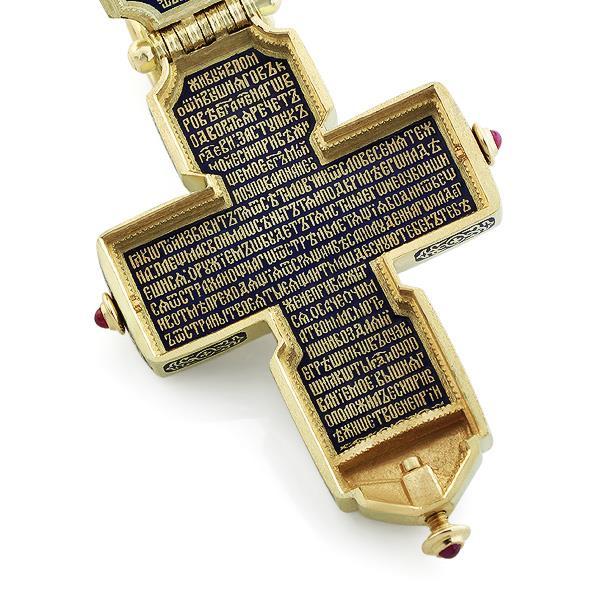Крест-мощевик православный Распятие Иисуса Христа, святой Николай Чудотворец, святой Сергий Радонежский,  святой Серафим Саровский