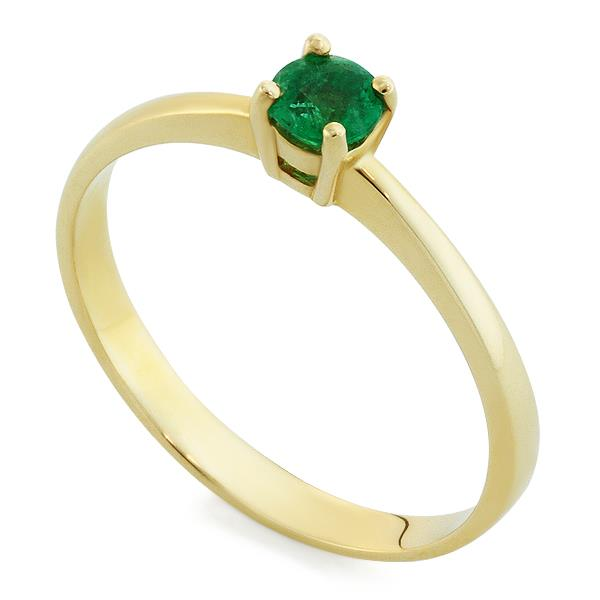 Кольцо с 1 изумрудом 0,21 ct 3/3 из желтого золота 585°, артикул R-НП 059И-1