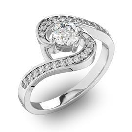 Помолвочное кольцо с 1 бриллиантом 0,45 ct 4/5  и 22 бриллиантами 0,13 ct 4/5 из белого золота 585°, артикул R-D30659-2