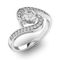 Помолвочное кольцо с 1 бриллиантом 0,45 ct 4/5  и 22 бриллиантами 0,13 ct 4/5 из белого золота 585°