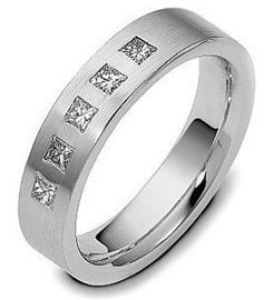 Обручальное кольцо с бриллиантами из белого золота 585 пробы, артикул R-1658