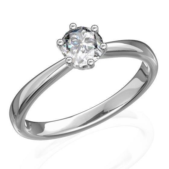 Кольцо с 1 бриллиантом 0,20 ct 4/5  из белого золота 585°, артикул R-D43439-2