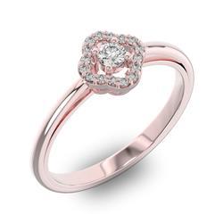 Помолвочное кольцо с 1 бриллиантом 0,1 ct 4/5  и 16 бриллиантами 0,05 ct 4/5 из розового золота 585°, артикул R-D40458-3