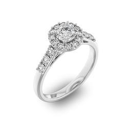 Помолвочное кольцо с 1 бриллиантом 0,45 ct 4/5  и 18 бриллиантами 0,45 ct 4/5 из белого золота 585°, артикул R-D35967-2