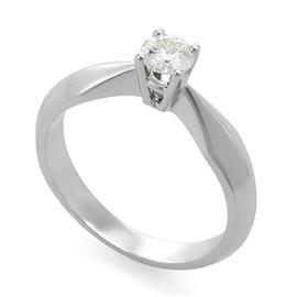 Помолвочное кольцо с 1  бриллиантом 0,34 ct 4/5 белое золото, артикул R-YZ39806