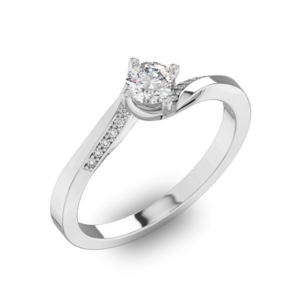 Помолвочное кольцо с 1 бриллиантом 0,40 ct 4/5  и 14 бриллиантами 0,04 ct 4/5 из белого золота 585°