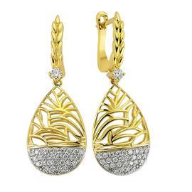 Серьги с 56 бриллиантами 0,51 ct 4/4 из желтого золота, артикул R-80922-1