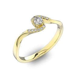 Помолвочное кольцо с 1 бриллиантом 0,15 ct 4/5  и 12 бриллиантами 0,04 ct 4/5 из желтого золота 585°, артикул R-D40459-1