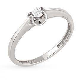 Кольцо с 1 бриллиантом 0,10 ct 3/6  из белого золота 585°, артикул R-GGR36-2