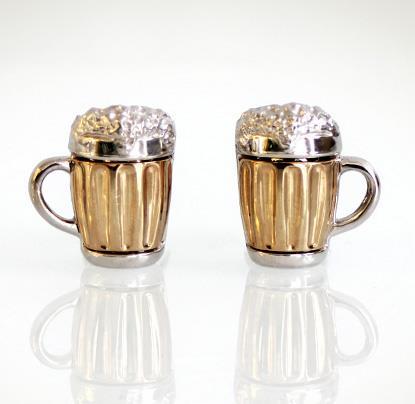 Запонки Пивные кружки из серебра 925 пробы с золотым покрытием с сапфирами