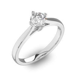 Помолвочное кольцо 1 бриллиантом 0,5 ct 4/5 и 2 бриллиантами 0,02 ct 4/5 из белого золота 585°, артикул R-D41799-2