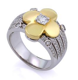 Кольцо из белого и желтого золота 750 пробы, с 60 бриллиантами 0,56 карат и 1 бриллиант 0,38 карат, артикул R-СА318