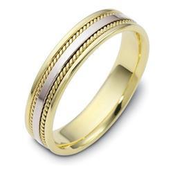 Кольцо обручальное из желтого и белого  золота 585 пробы, артикул R-1050