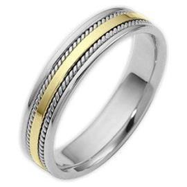Обручальное кольцо из белого и желтого золота 585 пробы, артикул R-5012