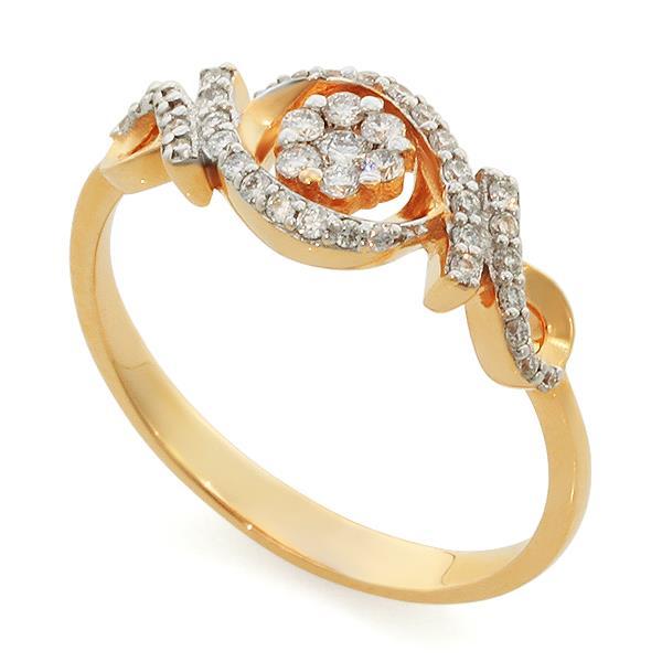 Кольцо с 41 бриллиантом 0,26 ct (центр 1 бриллиант 0,03 ct 3/5, 6 бриллиантов 0,07 ct 3/5, боковые 34 бриллианта 0,16 ct 3/5) из розового золота, артикул R-DRN13161-007
