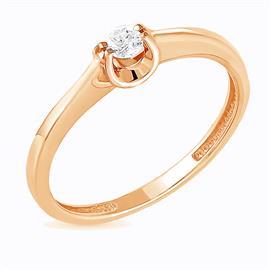 Помолвочное кольцо с 1 бриллиантом 0,10 ct 4/4  из розового золота 585°, артикул R-GGR36-3