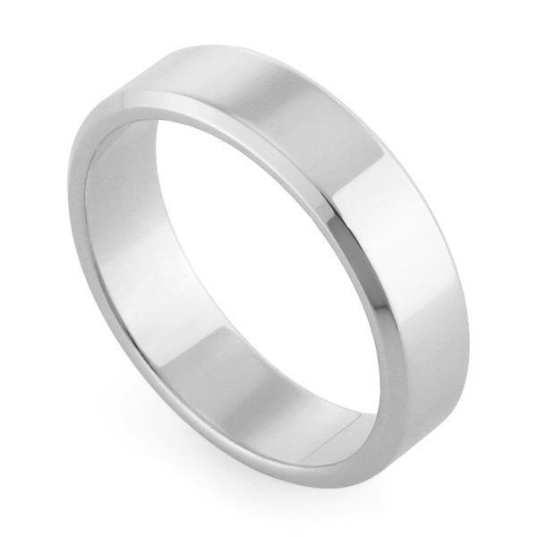 Обручальное кольцо классическое из белого золота, ширина 5 мм, комфортная посадка, артикул R-W955W